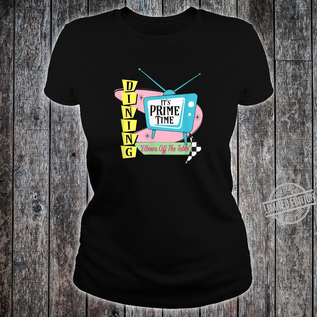 50's Retro TV Prime Time Dining Elbows Off the Table Shirt ladies tee