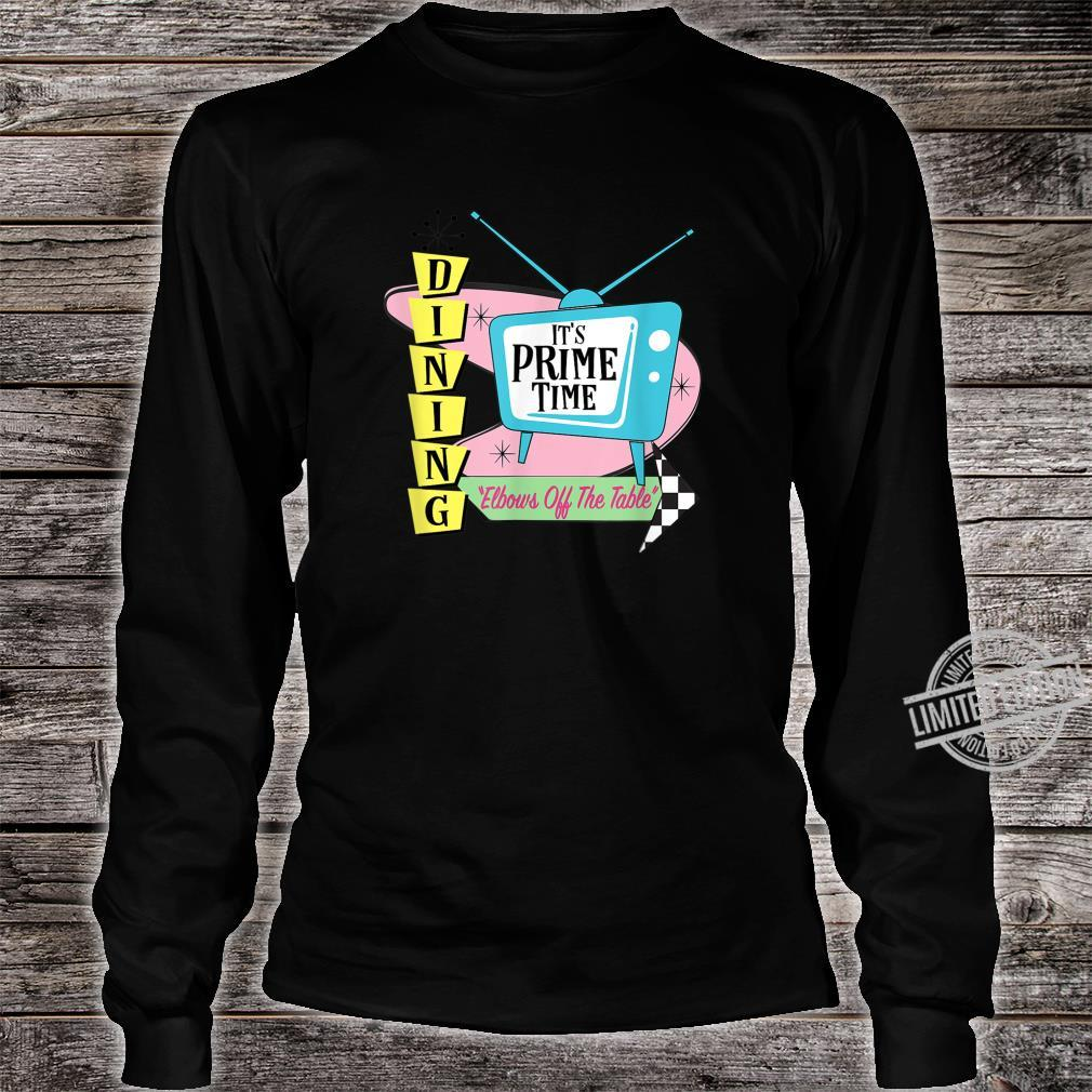 50's Retro TV Prime Time Dining Elbows Off the Table Shirt long sleeved