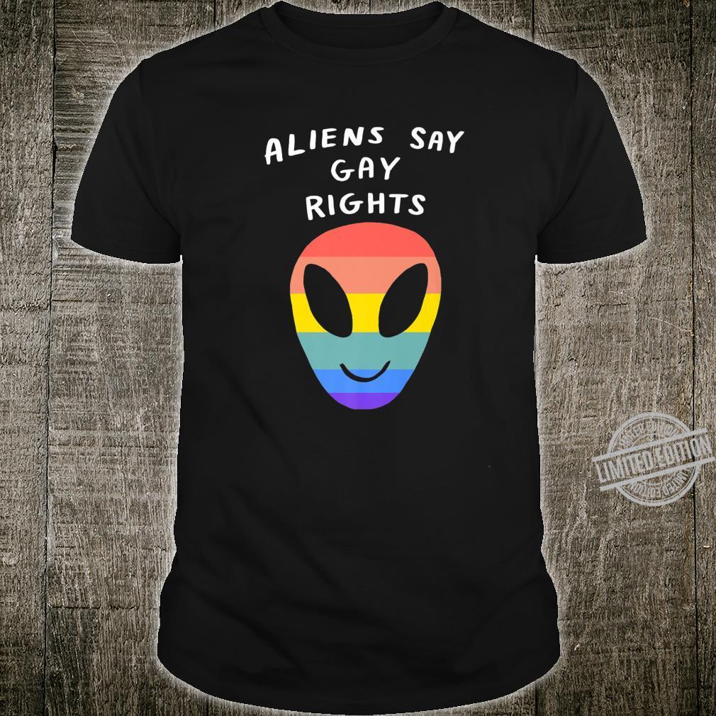 Aliens Say Gay Rights LGBTQIA Aesthetic Pride Flag Space Shirt