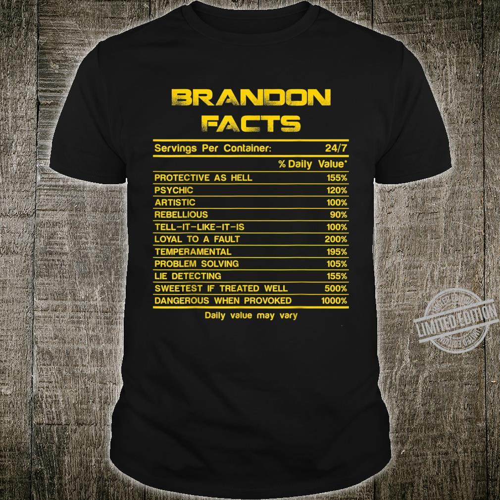 BRANDON facts servings nutrion daily value fathers day Shirt