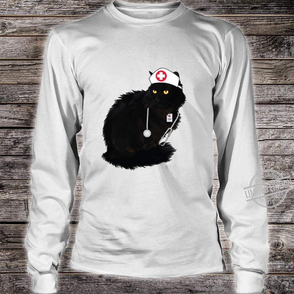 Black Cat Shirt For Nurses Doctor Cat Mom Nurse Langarmshirt Shirt long sleeved