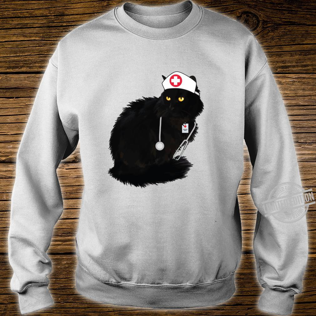 Black Cat Shirt For Nurses Doctor Cat Mom Nurse Langarmshirt Shirt sweater