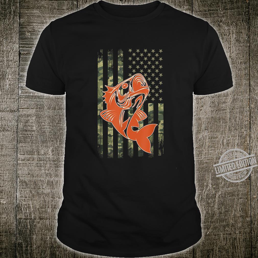Camouflage USA Flag Fishing For Bass Fisherman Shirt
