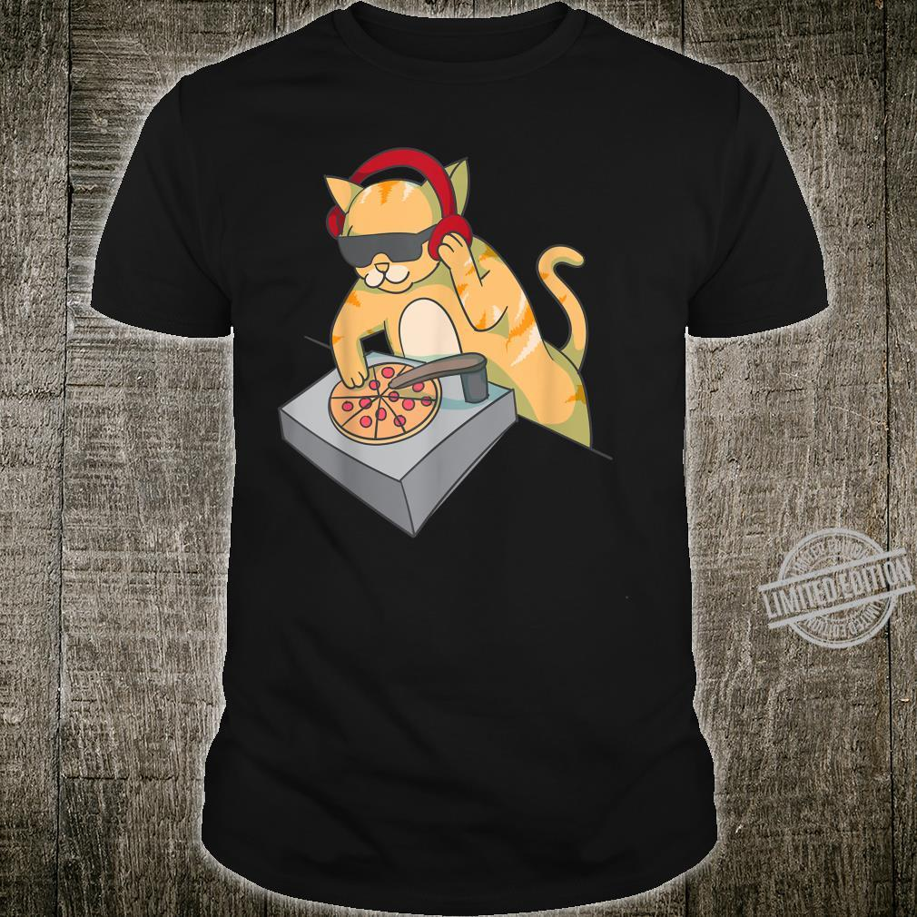 Cat DJ Pizza Cool Kitty Disc Jockey Music Shirt