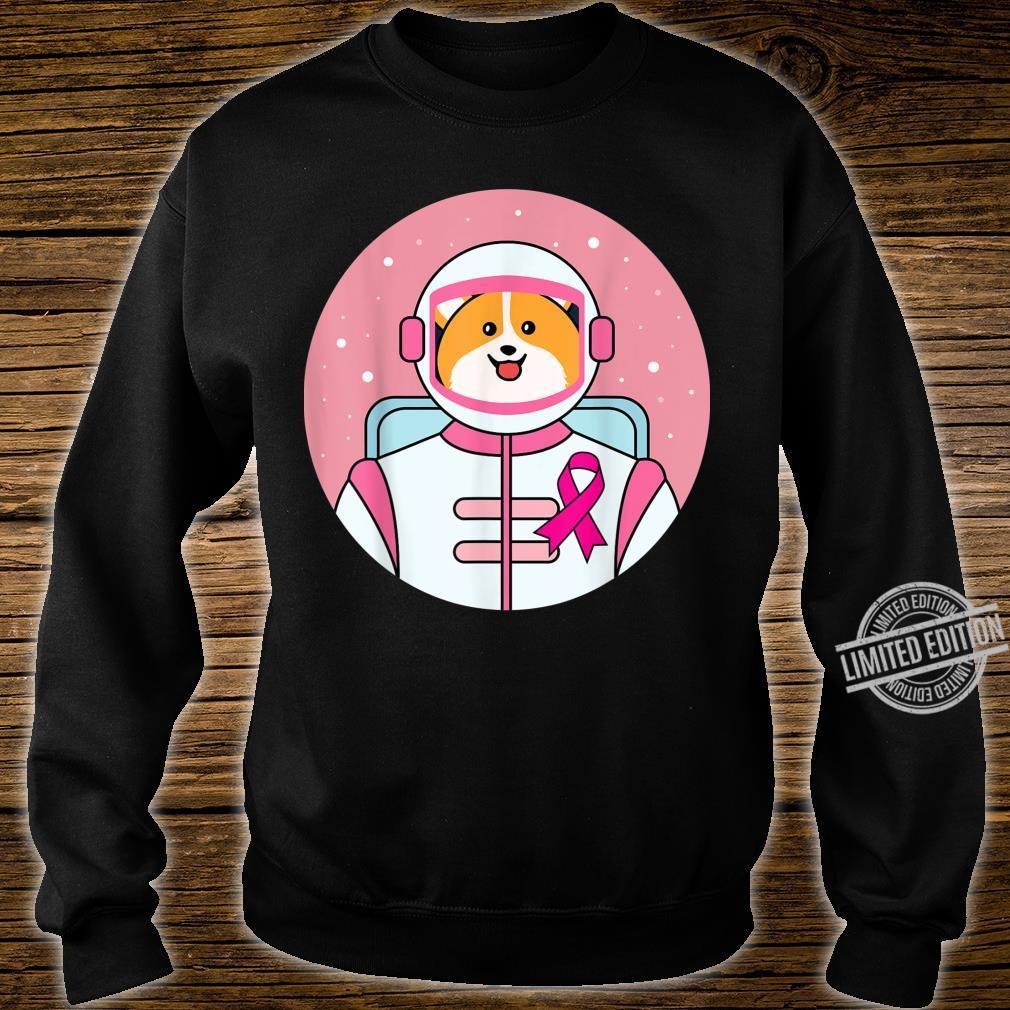 Corgi Astronaut Pink Ribbon Warrior Cute Breast Cancer Shirt sweater