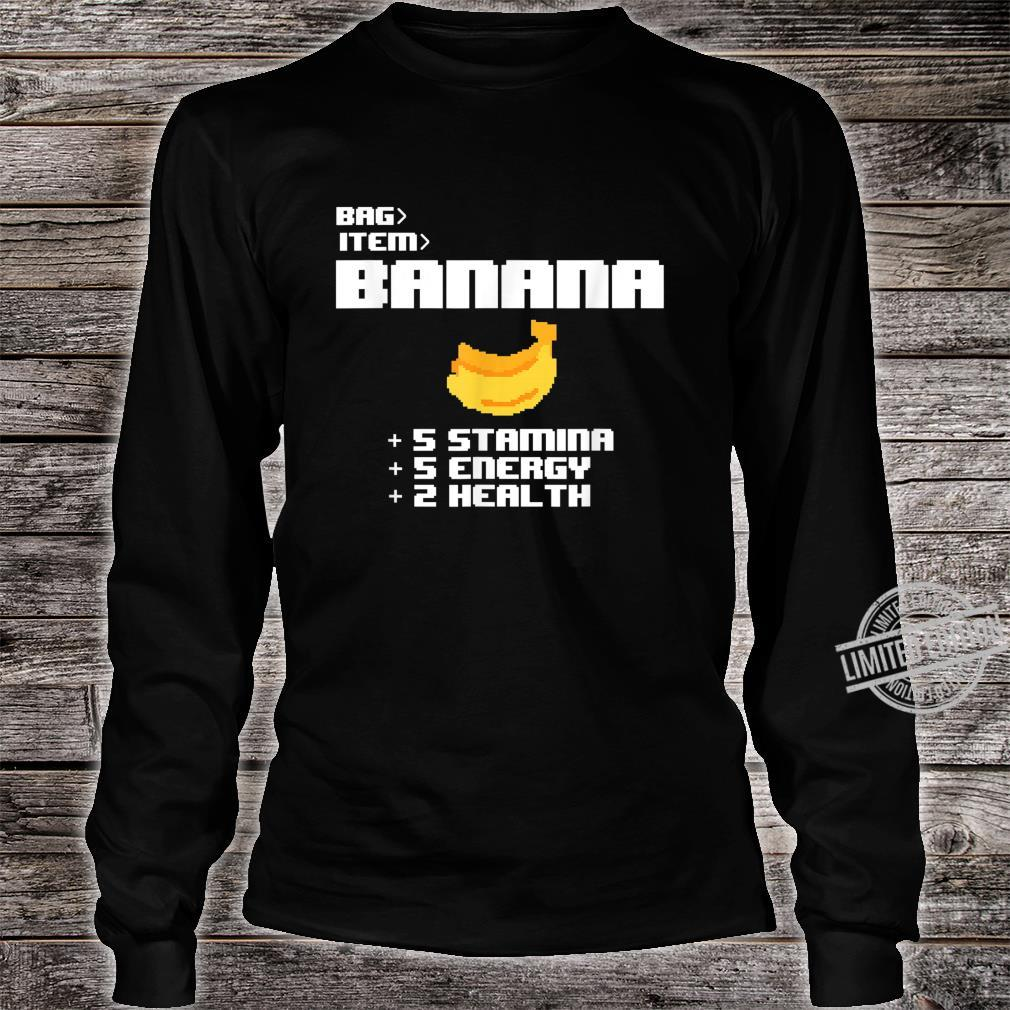 Cute Kawaii 8bit Pixel Banana Fruit Video Gamer Shirt long sleeved