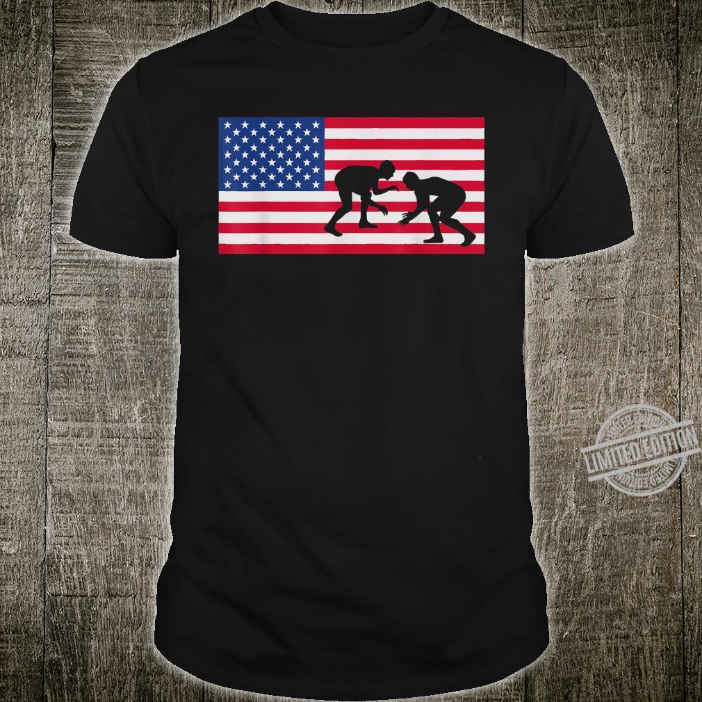 Distressed Wrestling USA American Flag Vintage Wrestler Shirt
