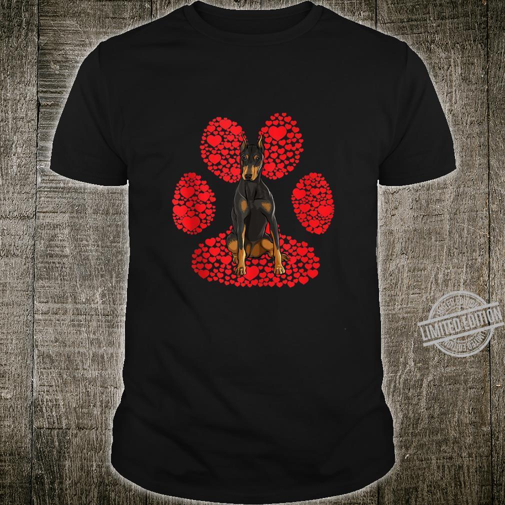 Doberman Pinscher Valentines Day Dog Love Paw Shirt