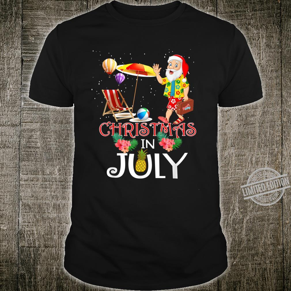 Funny Christmas in July Santa Hello Summer Celebration Shirt