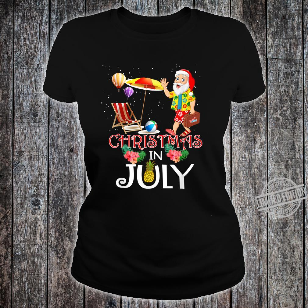 Funny Christmas in July Santa Hello Summer Celebration Shirt ladies tee