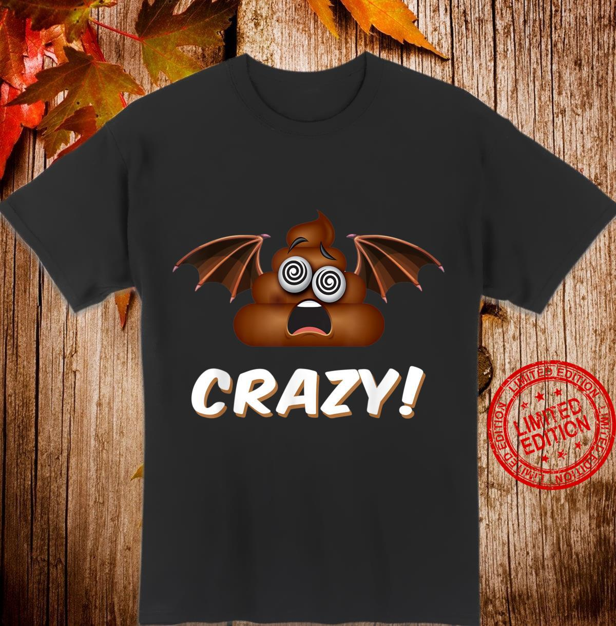 Funny Halloween Bat Shit Crazy Poop Emoji Shirt