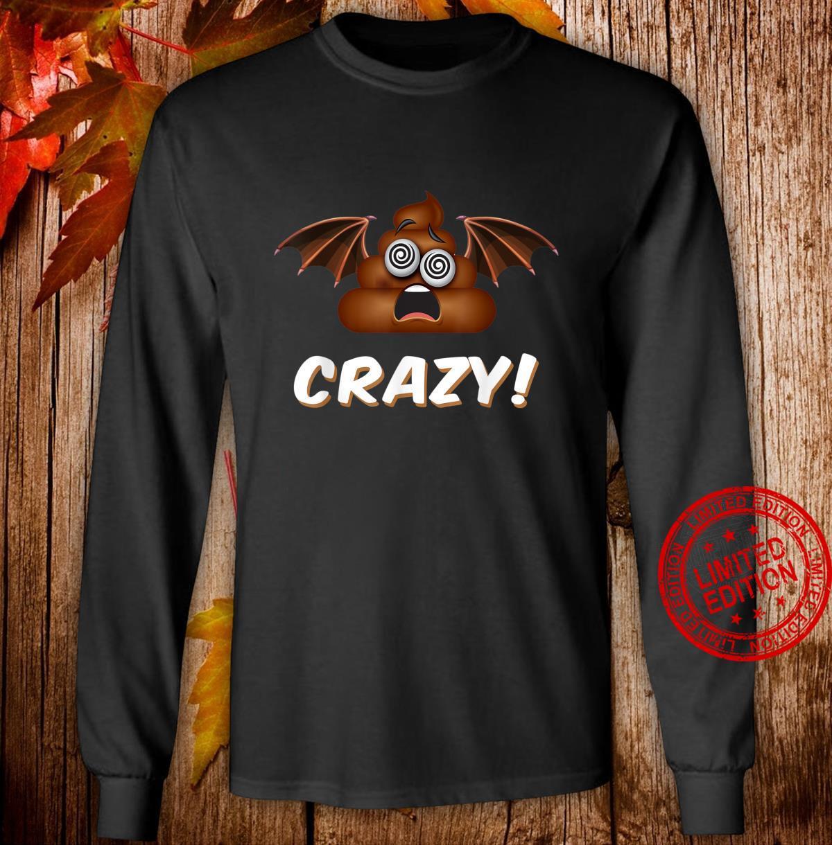 Funny Halloween Bat Shit Crazy Poop Emoji Shirt long sleeved