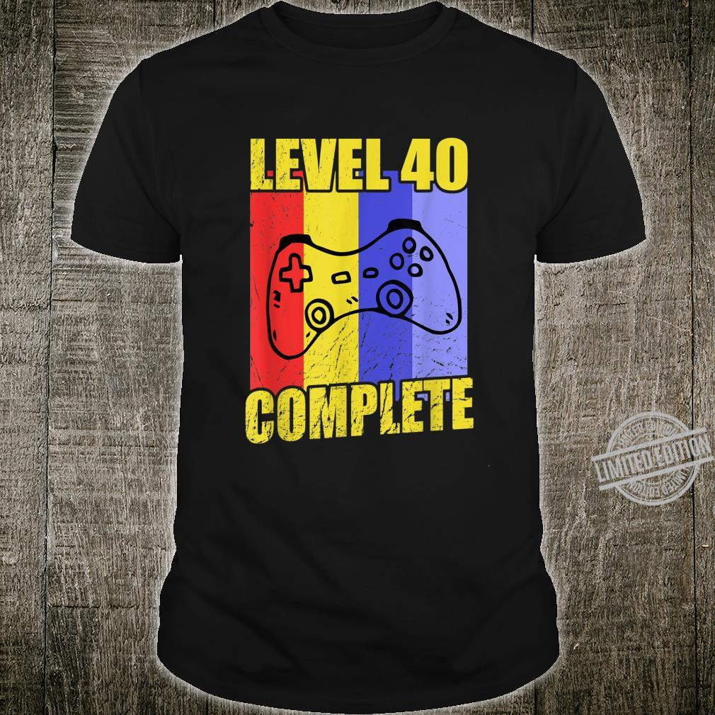 Gamer 40th Birthday Level 40 Complete idea Shirt