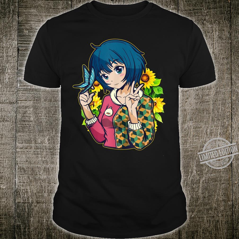 Kawaii Anime Sunflower Field Butterfly Girl Manga Shirt