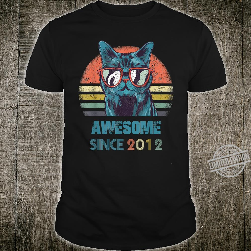 Kids 8th Birthday Shirt Awesome Since 2012 Cat 8 Year Old Shirt