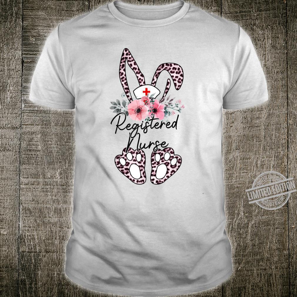 Leopard Bunny Registered Nurse Floral Easter Day Shirt