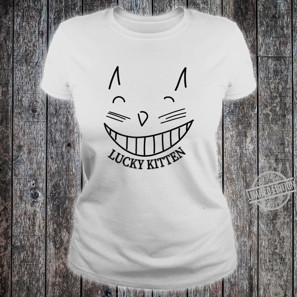 Lucky Kitten grinning cat cool Shirt ladies tee