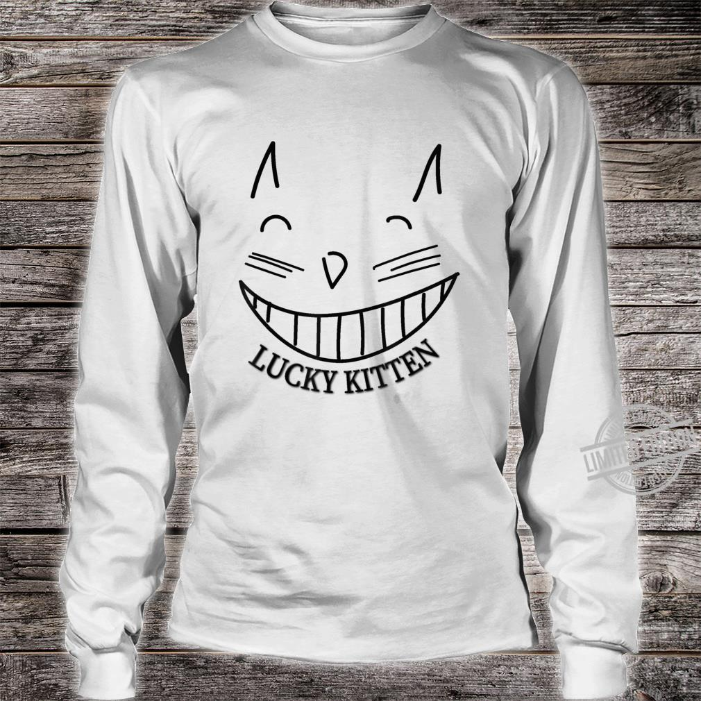 Lucky Kitten grinning cat cool Shirt long sleeved