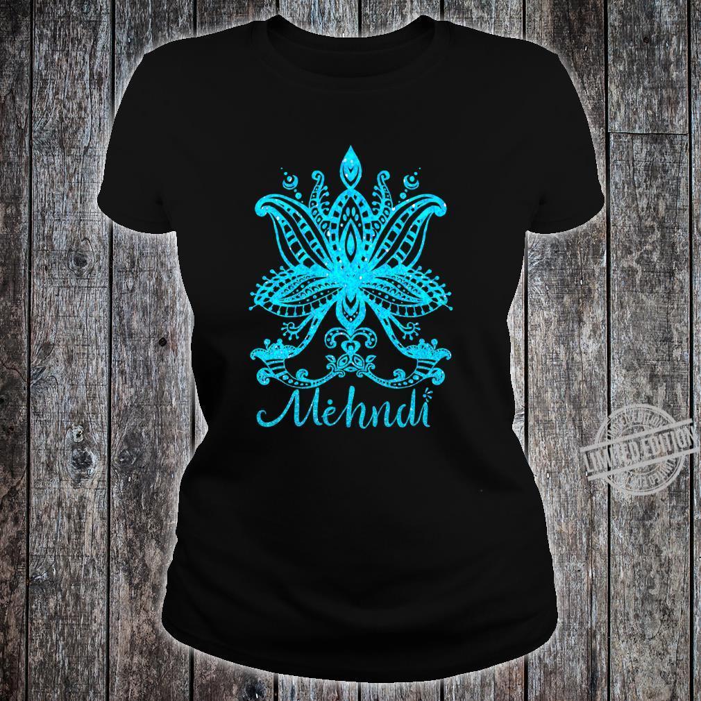 Mehndi Shirt Mandala Design Turquoise Blue Mehandi Art Shirt ladies tee