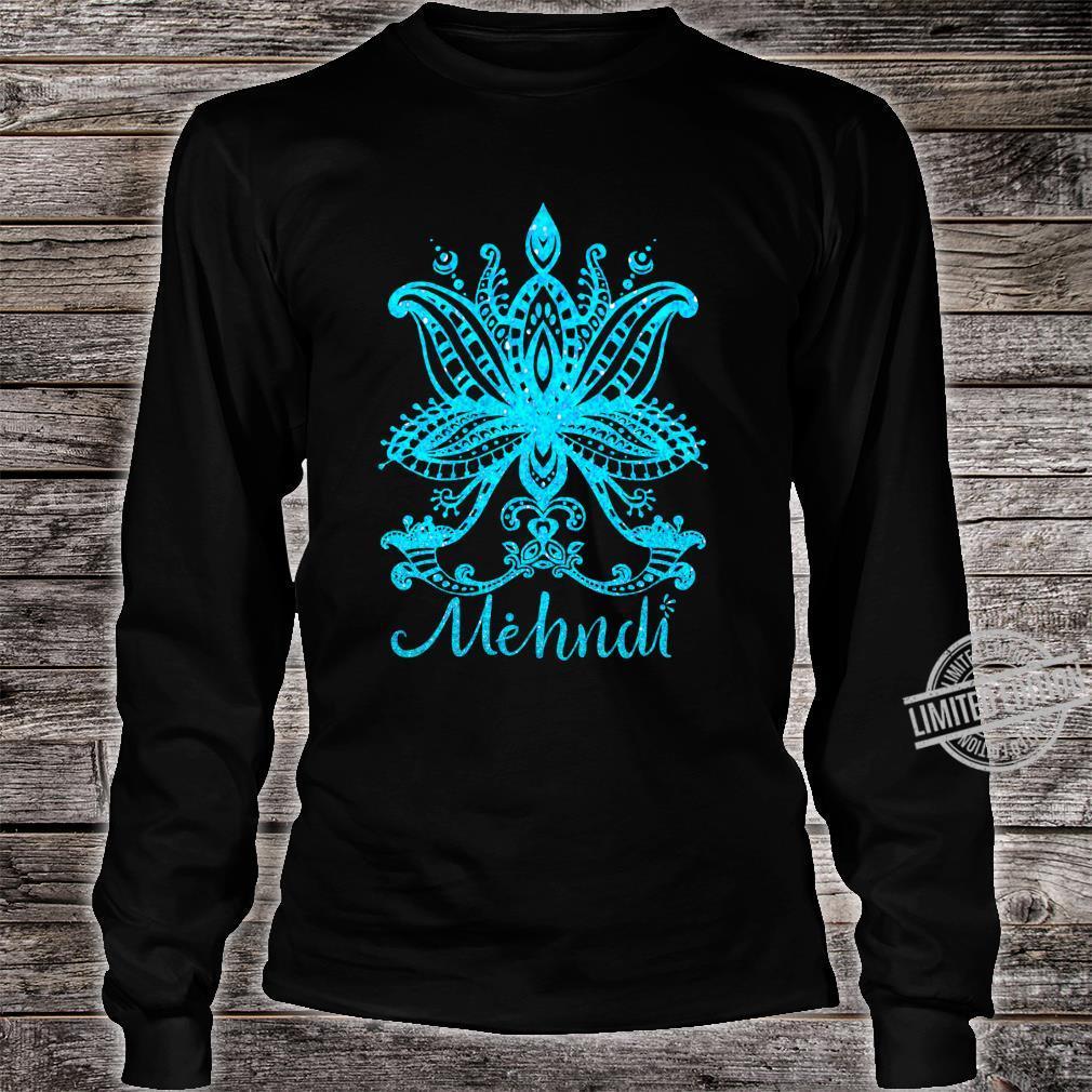 Mehndi Shirt Mandala Design Turquoise Blue Mehandi Art Shirt long sleeved