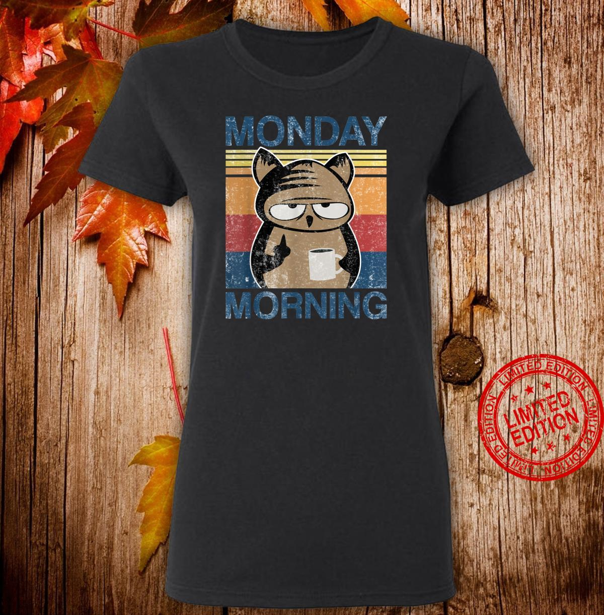 Monday Morning Owl with coffee and middlefinger office Shirt ladies tee