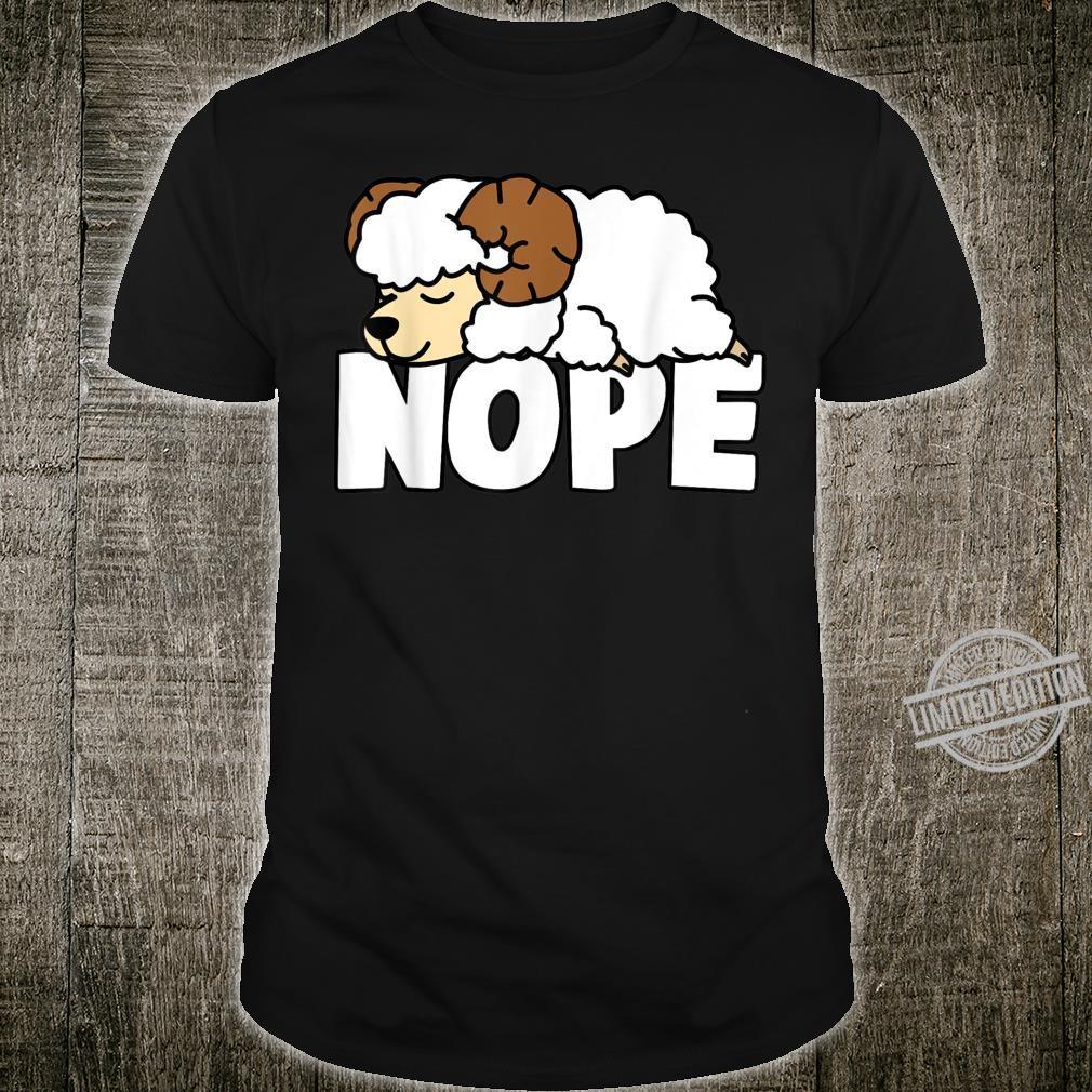 Napping Sheep Nope Lazy Animal Pets Fan Shirt