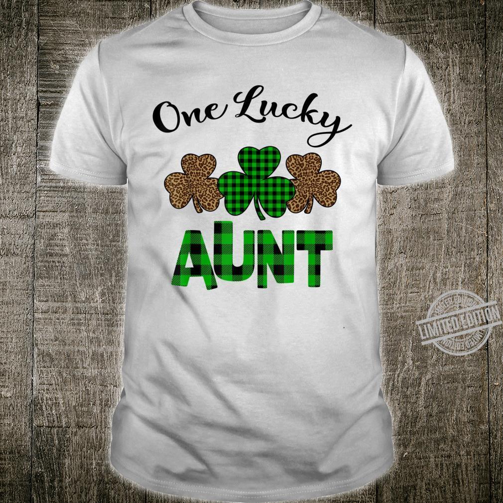 One Lucky Aunt Three Shamrock Leopard Plaid Shirt