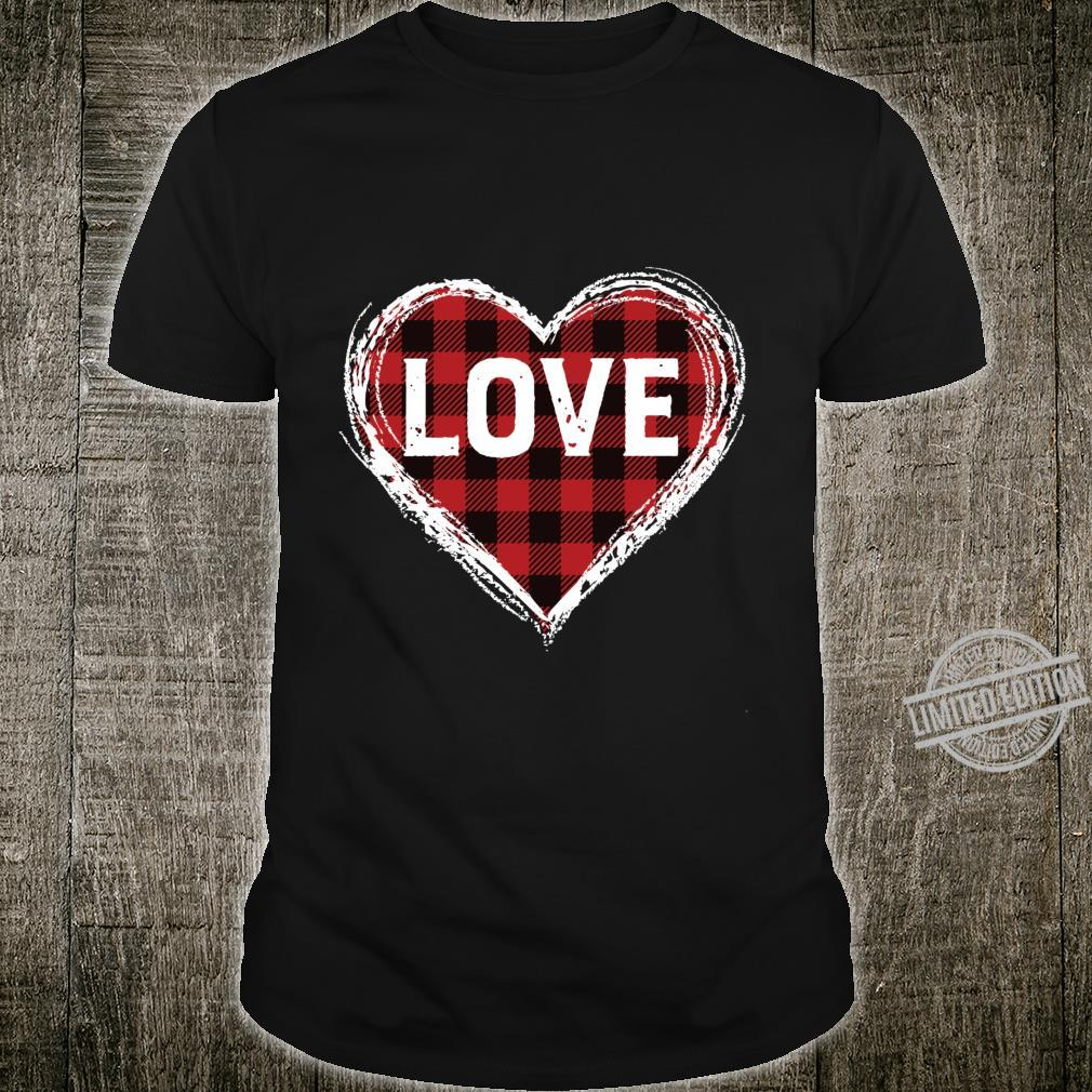 Plaid heart valentines day Langarmshirt Shirt