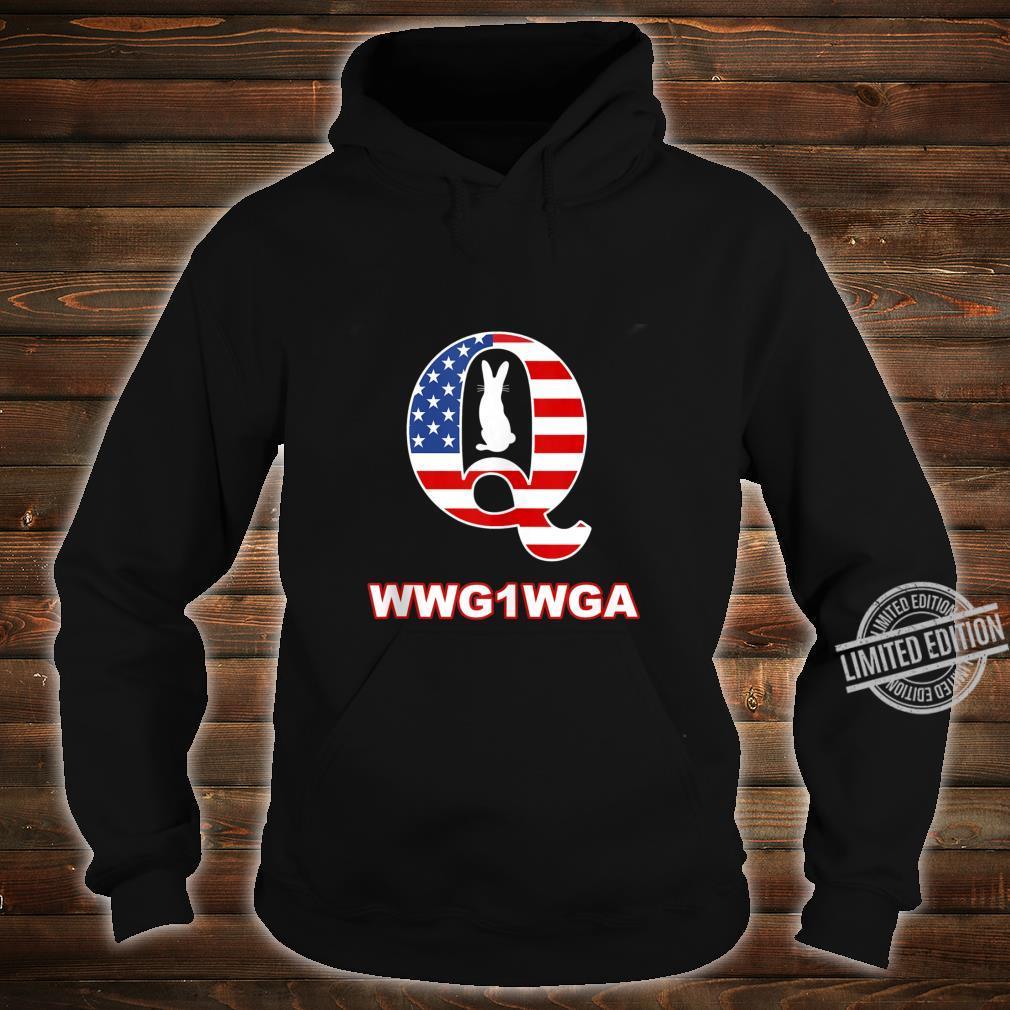 QAnon WWG1WGA Q Anon Great Awakening MAGA USA Flag Rabbit Shirt hoodie