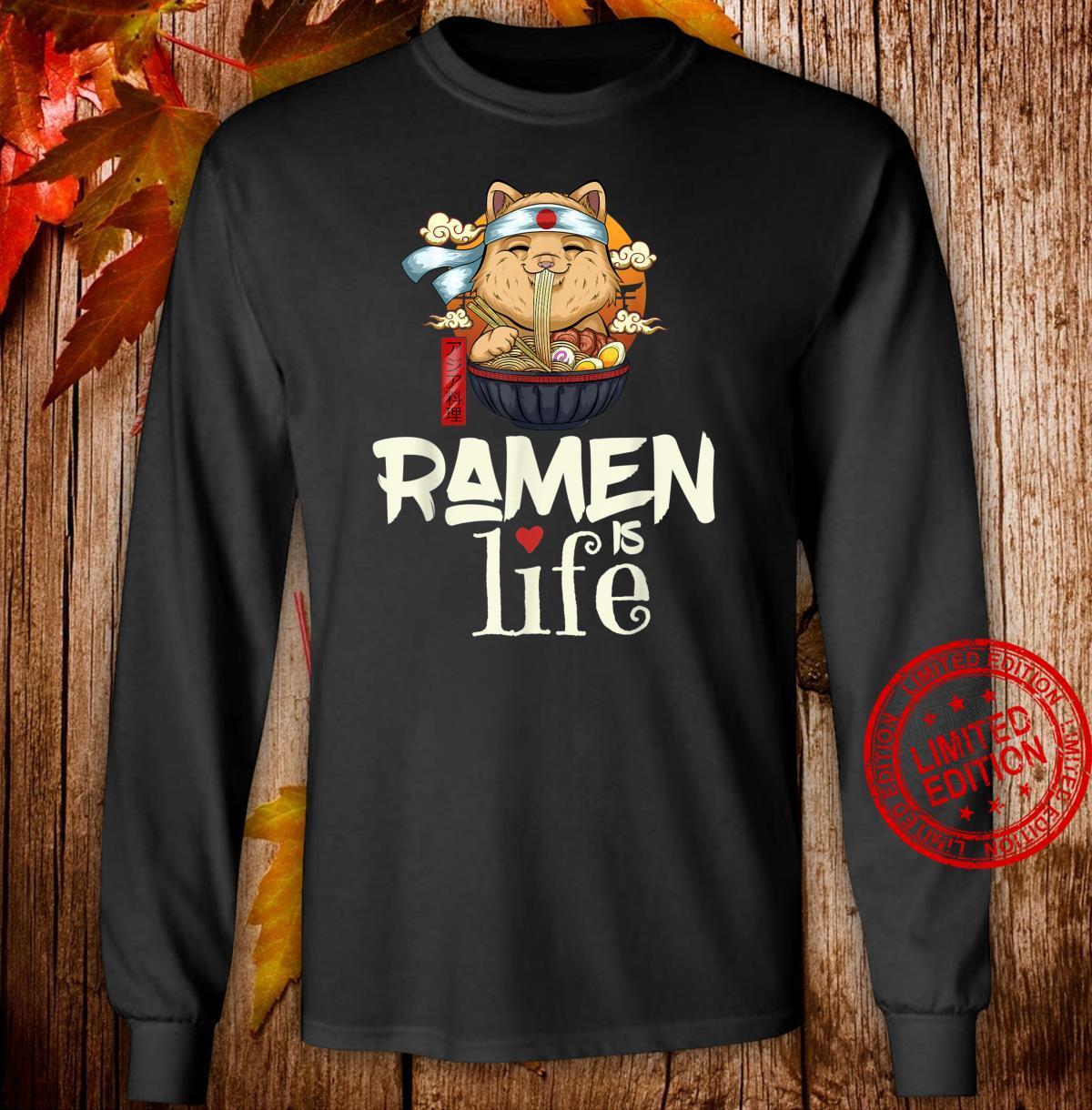 Ramen is Life Ramen Saying Cute Cat Girls Shirt long sleeved
