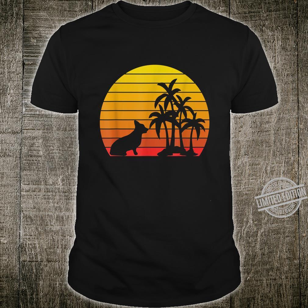 Retro Vintage Corgi Dog Sunset Palm Trees Beach Silhouette Shirt