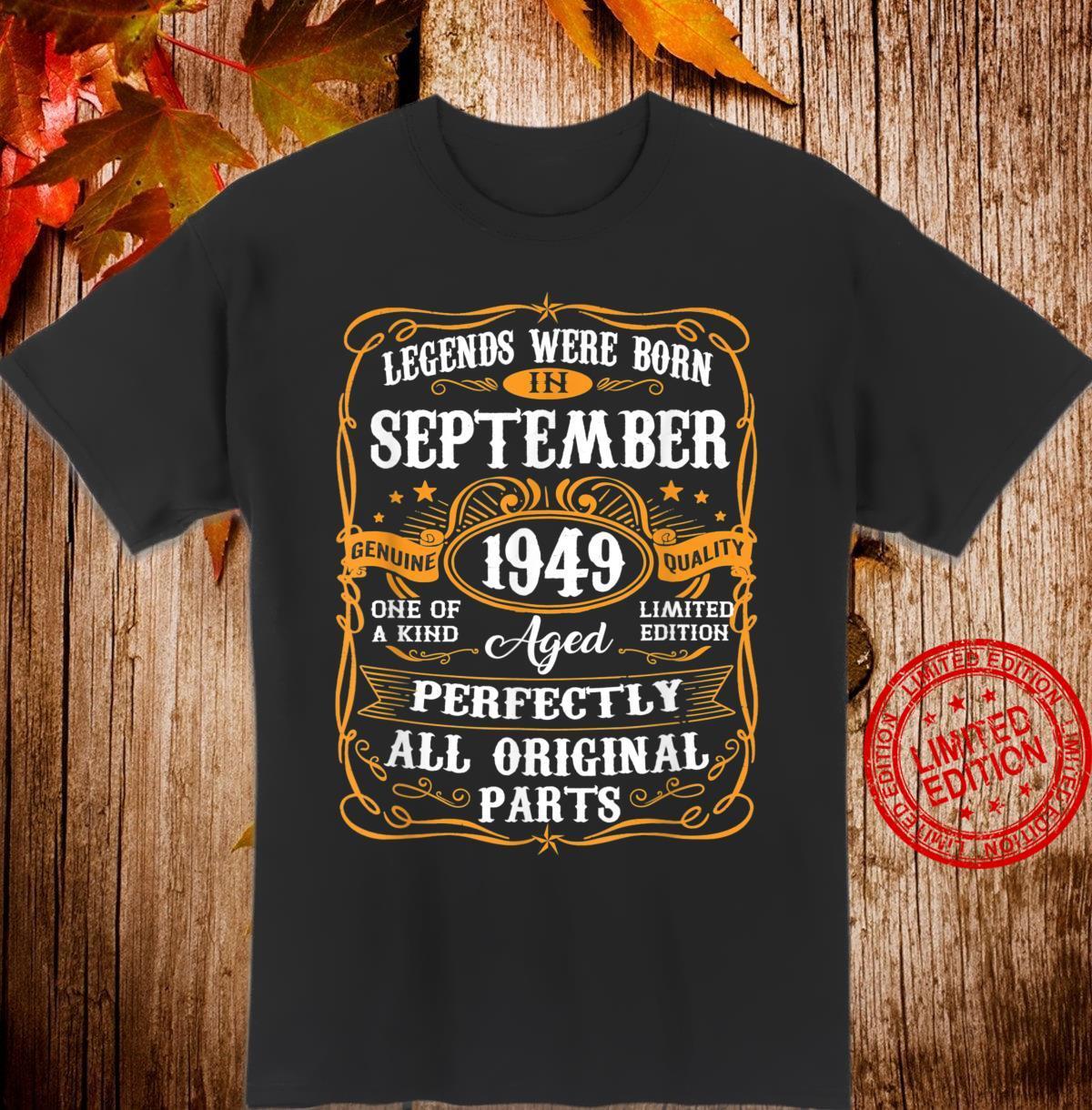 September 1949 71st Birthday 71 Years Old Shirt
