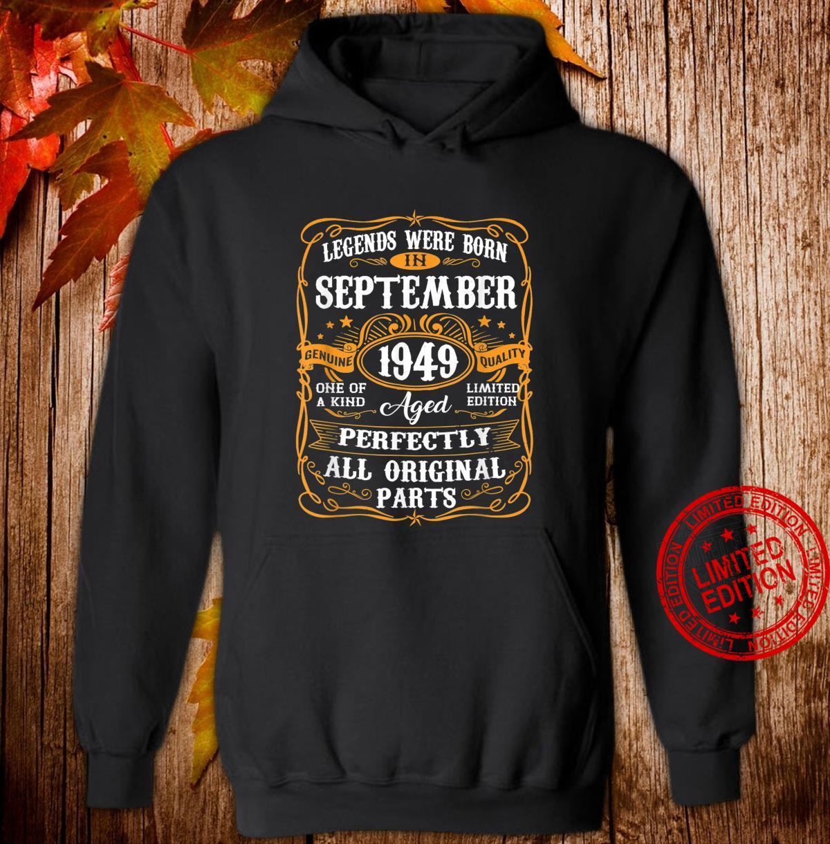 September 1949 71st Birthday 71 Years Old Shirt hoodie
