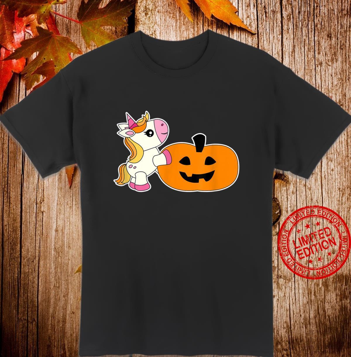 Unicorn JackOLantern HalloweenKawaii Girlsns Shirt