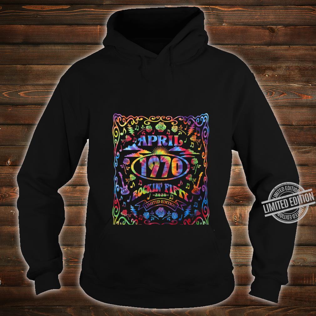 Womens April 1970 50th Birthday Live Music Theme Tie Dye Hippie Shirt hoodie