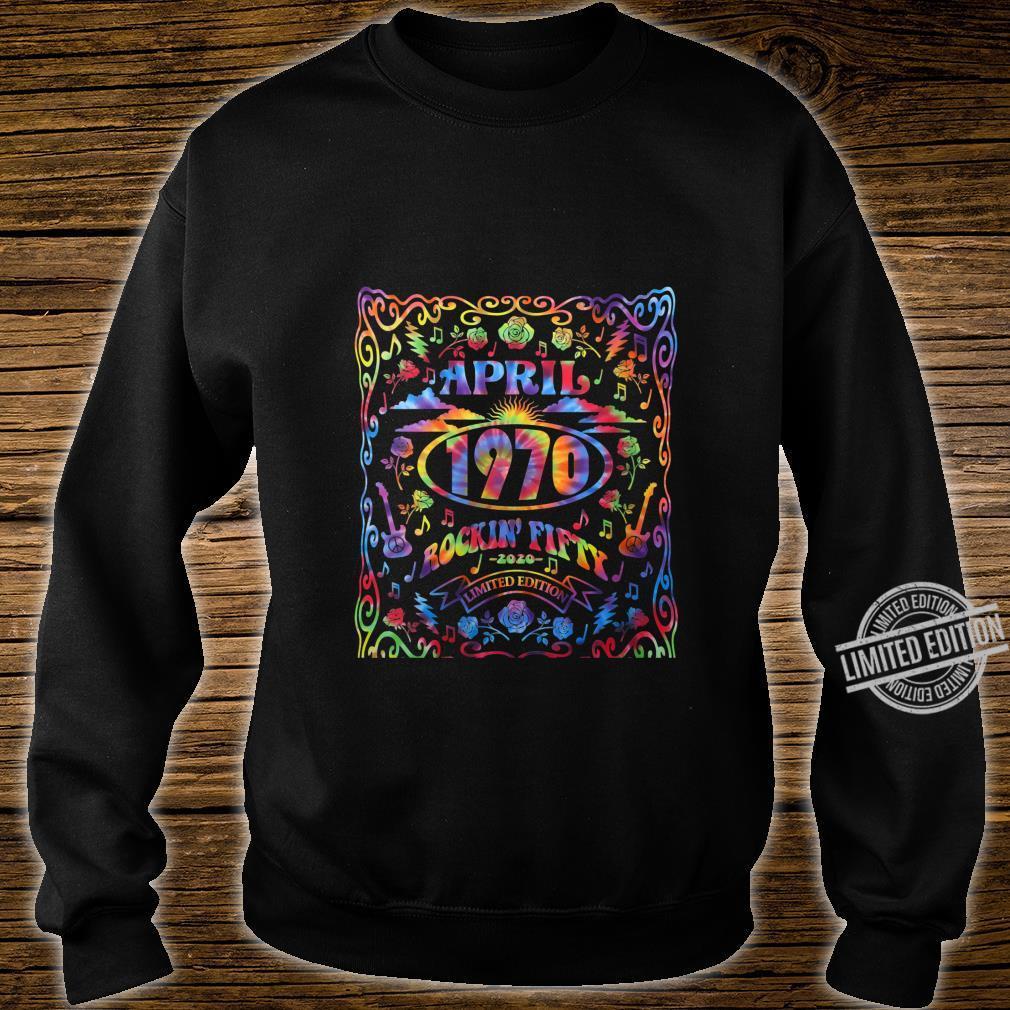 Womens April 1970 50th Birthday Live Music Theme Tie Dye Hippie Shirt sweater