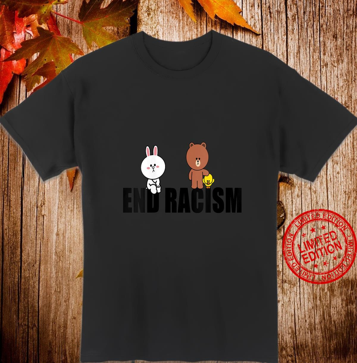 Womens Brown Bear Cony Bunny Rabbit Duck End Racism Love Each Other Shirt