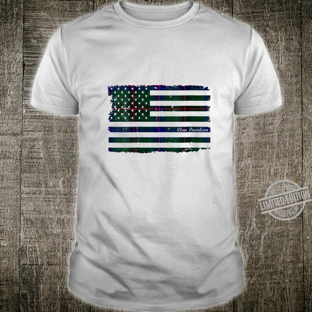 Womens Davidson surname American Flag Scottish tartan Shirt