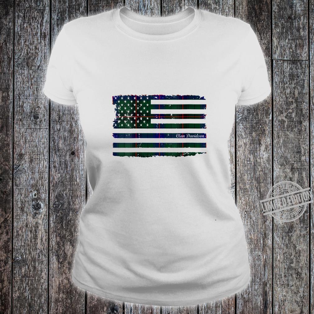 Womens Davidson surname American Flag Scottish tartan Shirt ladies tee
