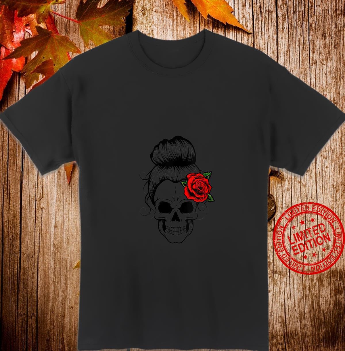 Womens Messy Bun Skull Shirt's Muertos Halloween Shirt Group Shirt