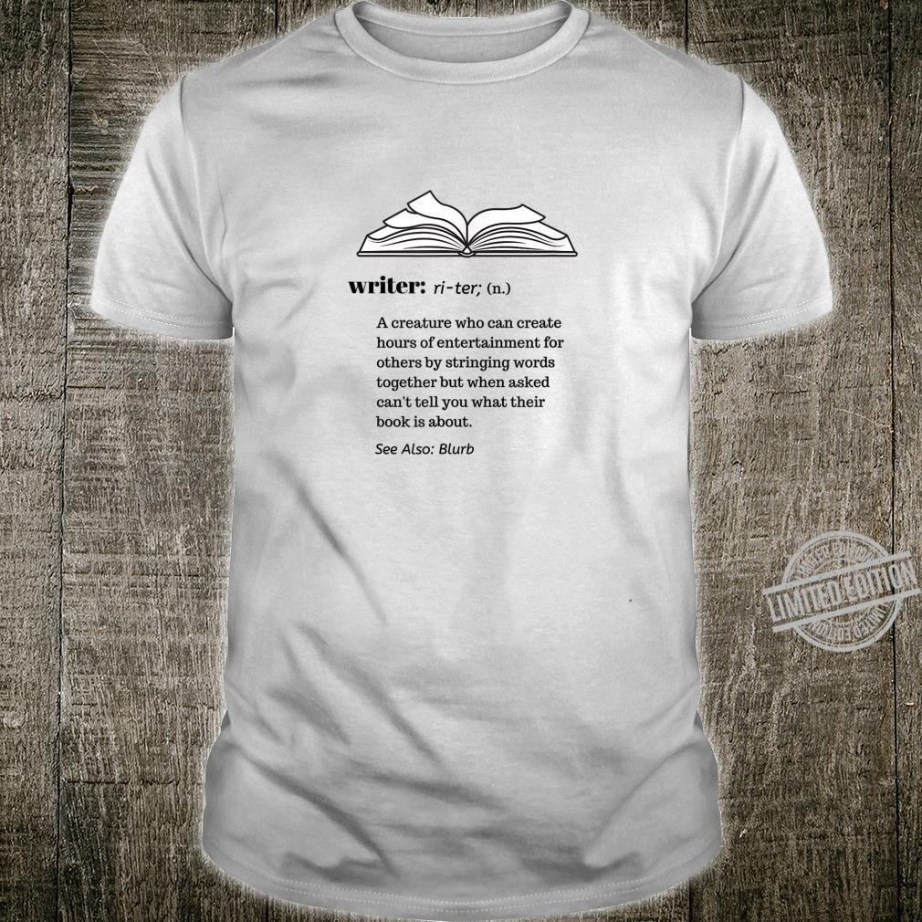Writer Definition for Author and Book Shirt